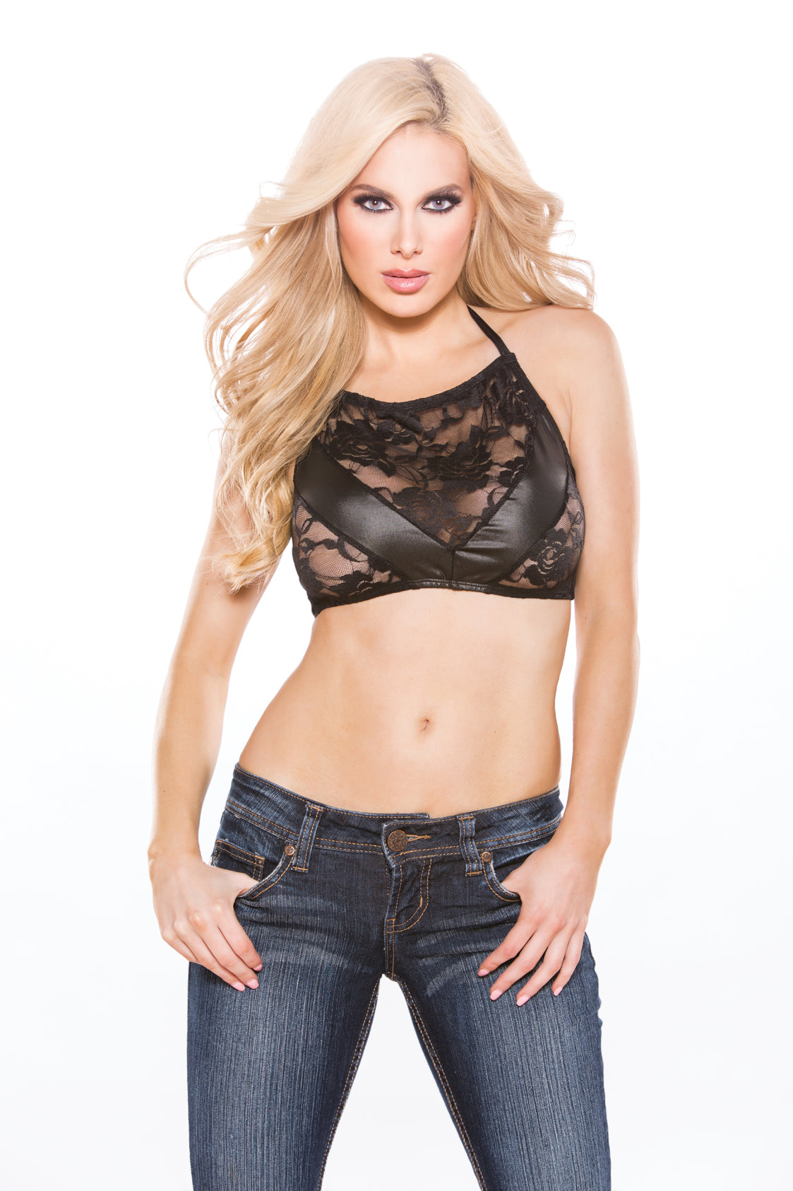Kitten Lace & Wet Look Top & G-String Set - One  Size