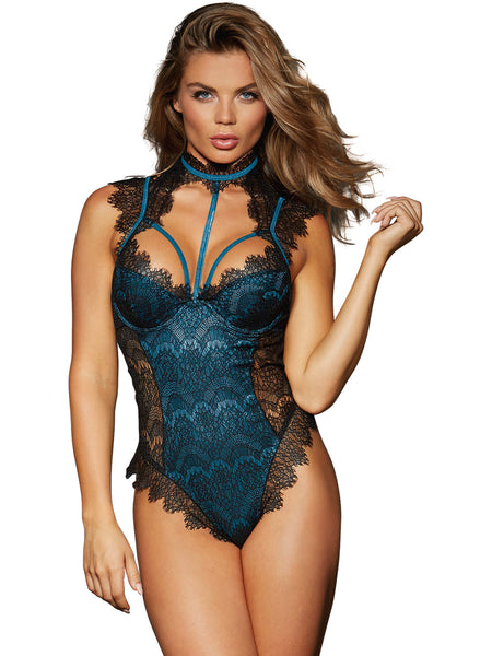 Eyelash Lace Collared Teddy - Medium - Black-  Teal