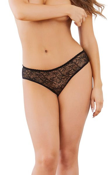 Open Crotch Panty - Large - Black