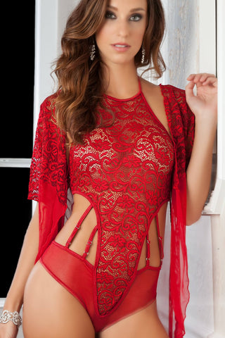 2pc High Neck Lacy Teddy and Robe - One Size - Vermillion