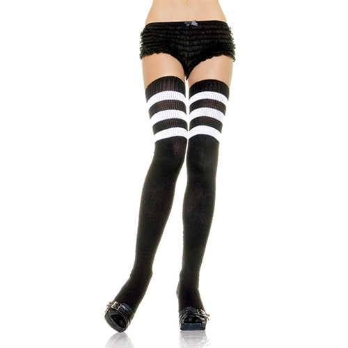Athletic Ribbed Thigh Highs - One Size  - Black-white