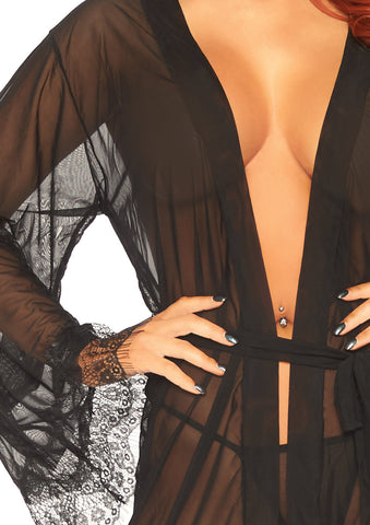 Sheer Short Robe With Eyelash Lace Trim W Flared Sleeves