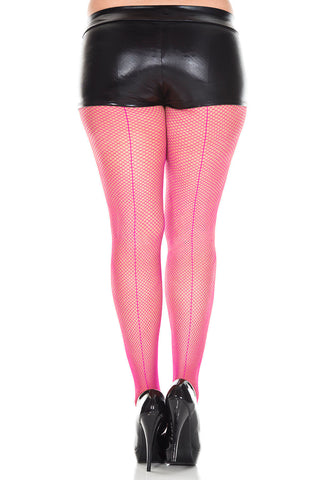 Backseam Fishnet Pantyhose - Queen Size - Fuchsia