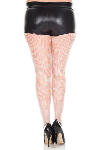 Backseam Fishnet Pantyhose - Queen Size - White