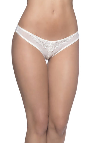 Crotchless Thong With Pearls and Venise Detail