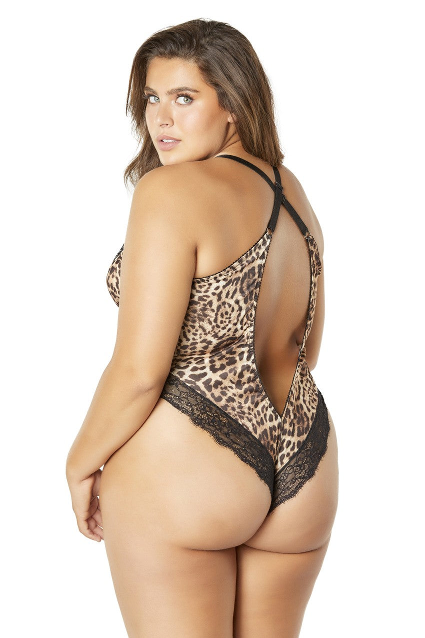 Printed Teddy With Lace Trimmed Plunging Neckline - Leopard-black - 3x4x