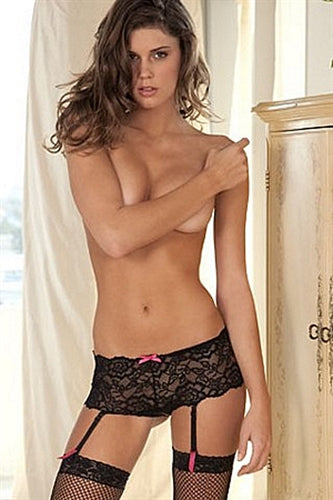 Crotchless Lace Boyshorts With Removable Garters - Small- Medium
