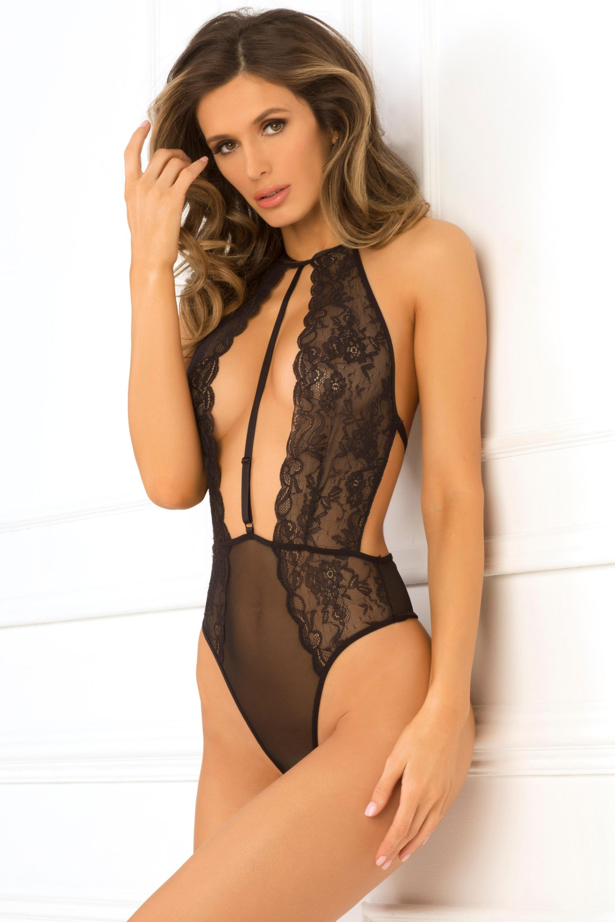 Hot Pursuit Lace Bodysuit - Small- Medium  - Black