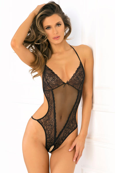 Crotchless Lace & Mesh Teddy - Medium-large - Black
