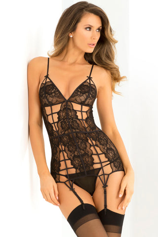 2 Pc Caged Lace Garter Chemise and  G-String Set - Small-medium - Black
