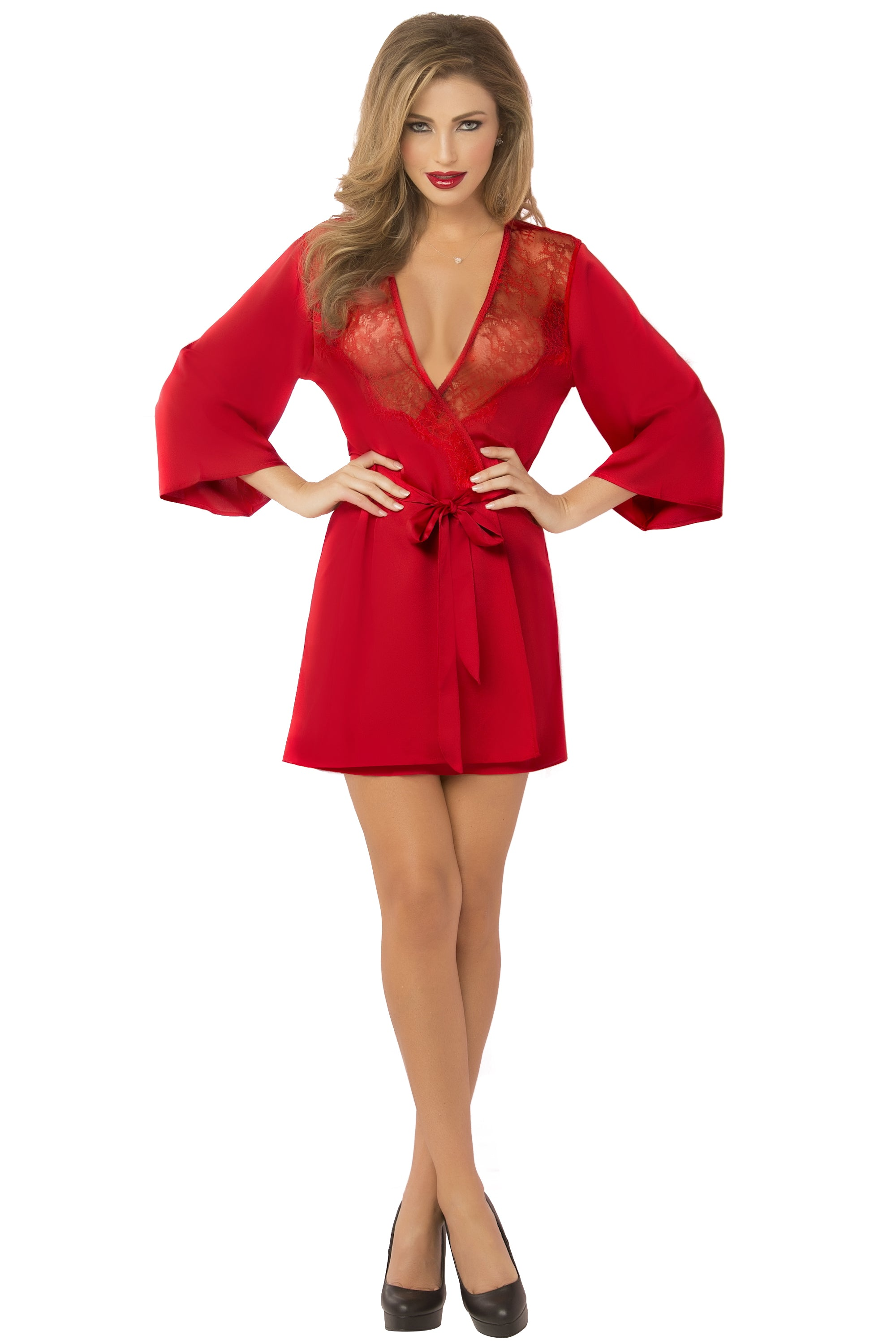 Satin & Eyelash Robe - One Size - Red