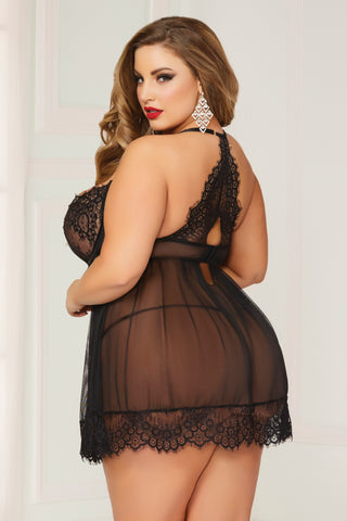 Galloon Lace & Mesh Babydoll  - 1x/2x