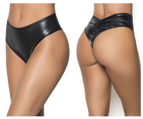 High Waist Ruched Wet Look Panty