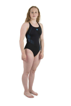 W Shadow One Piece Zwart - Turquoise | Zwemmershop