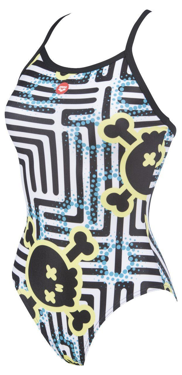 Crazy Labyrinth Light Drop Back One Piece - Zwart/Multi