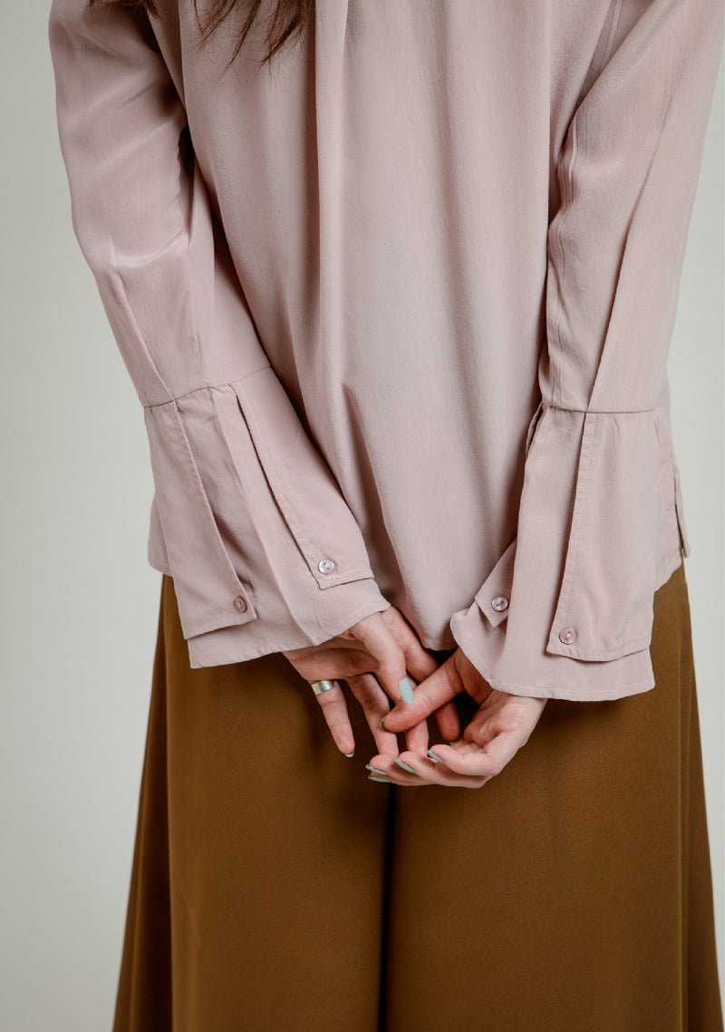Placket Detail Silk Shirt