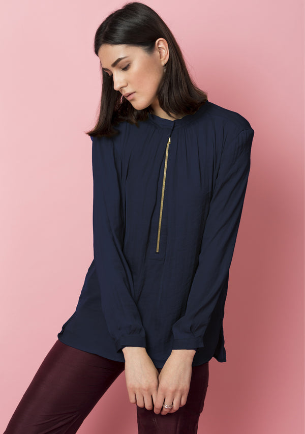Front Zipper Detail Top