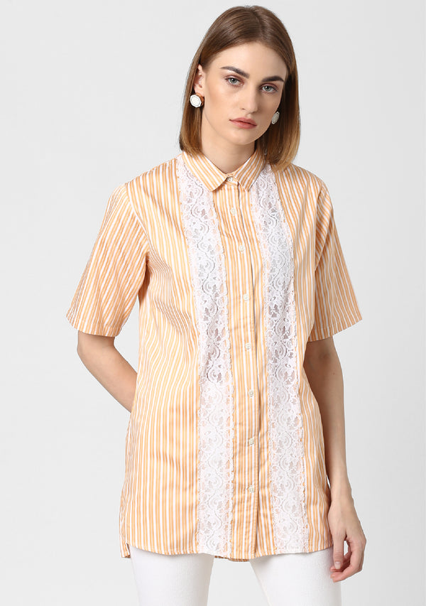 Scallop Striped Lace Tunic