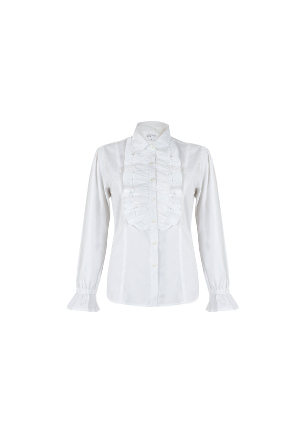 Front Ruffle Cotton Shirt