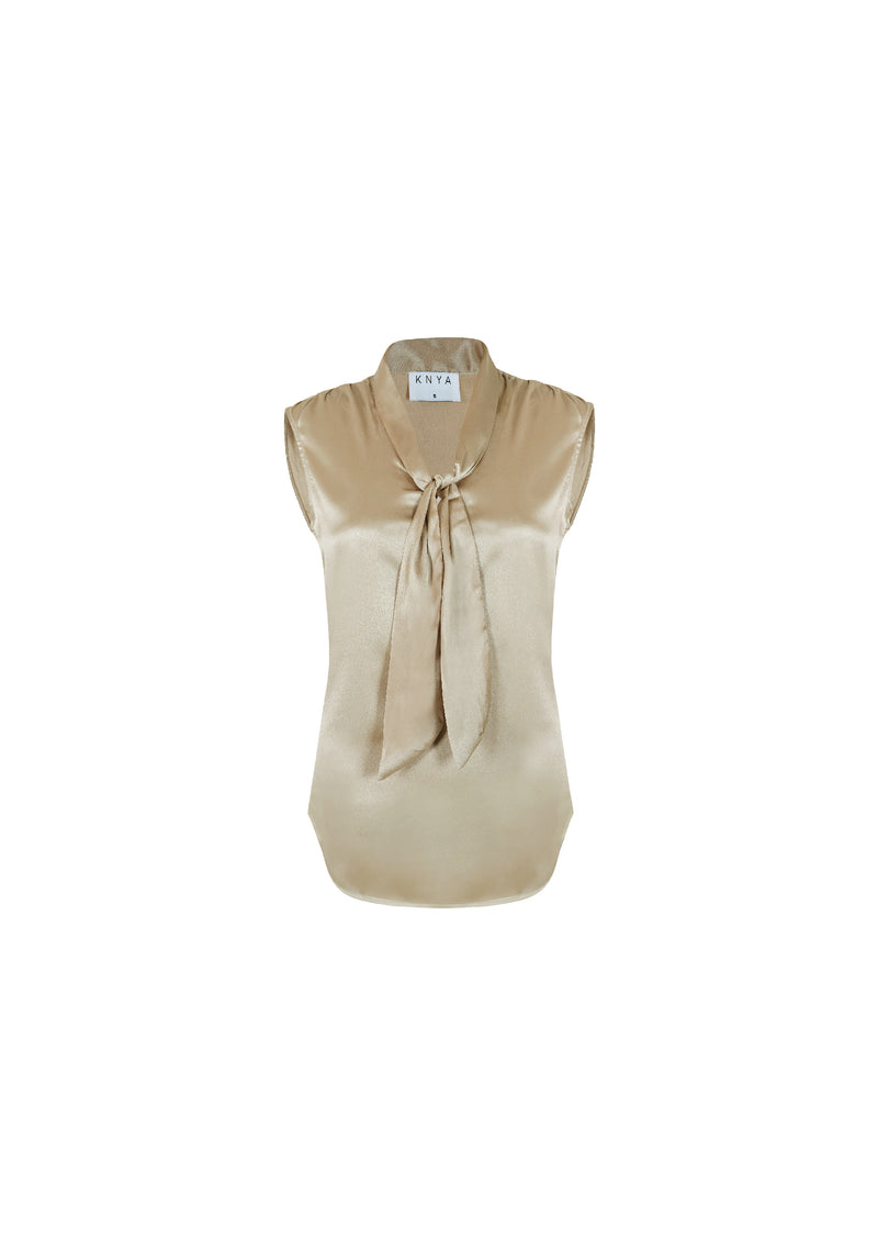Sleeveless Neck Tie Blouse
