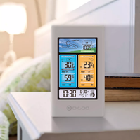 DIGOO DG-EX003 Vertical Color Screen Weather Station with Temperature, Humidity, Outdoor Sensor, Thermometer, Hygrometer - White