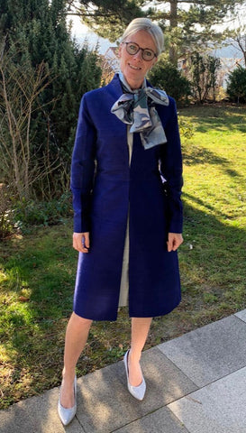 Customer in Midnight Blue Raw Silk Wedding Coat