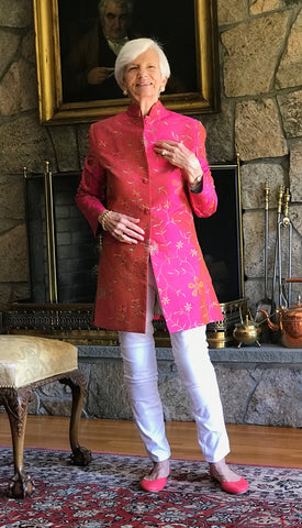 real customers silk jacket nehru collar pink embroidered coat