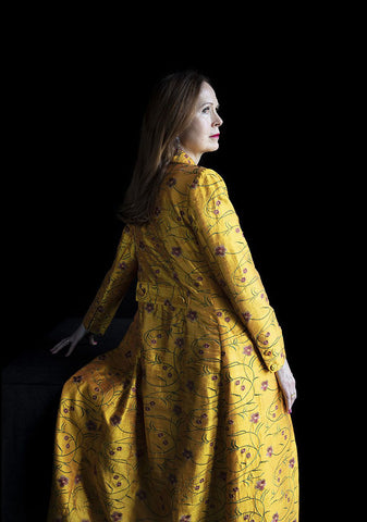 Womens floor length yellow embroidered silk wedding coat