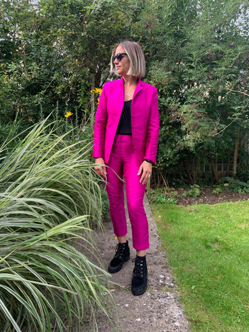 hot pink raw silk suit, power dressing, sustainable clothing