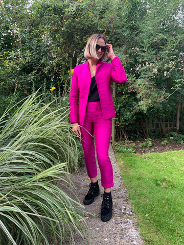 hot pink raw silk shibumi suit, wedding guest outfit