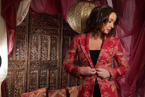 Red cashmere wedding coat
