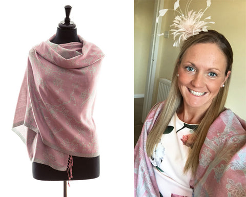 suzanna hext pink cashmere silk shawl wedding guest outfit
