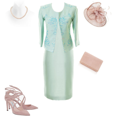 womens pale aqua turquoise silk and cashmere wedding guest outfit
