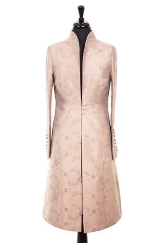 pale taupe embroidered silk mother of the bride coat wedding outfit