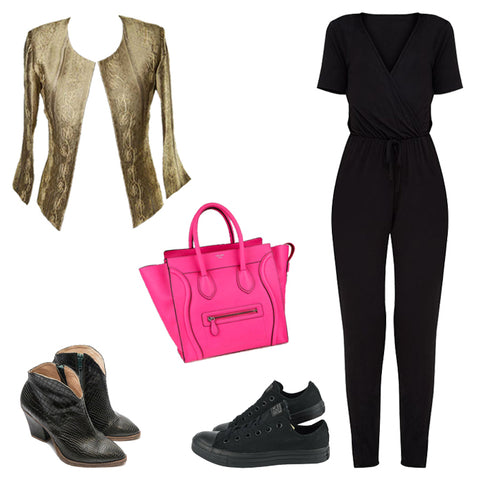 gold and black outfit, celine bag, black jumpsuit outfit, gold silk jacket