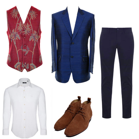 mens silk blazer waistcoat wedding outfit smart suit