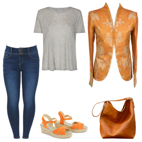 womens plus size smart casual outfit, summer outfit ideas, jeans, sandals, cashmere blazer