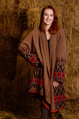ladies red navy brown alpaca wool cardigan coat