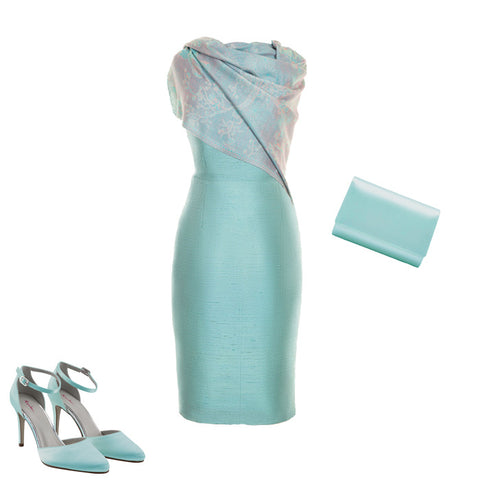 turquoise silk wedding guest outfit summer wedding mother of the bride