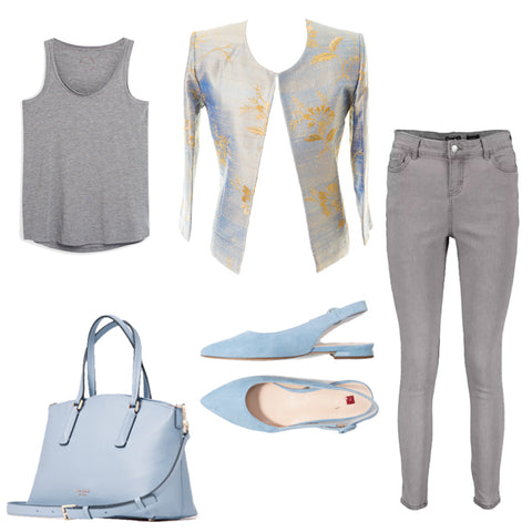 womens grey blue smart casual outfit, outfit ideas for middle aged women, plus size summer outfits, chanel jacket with jeans