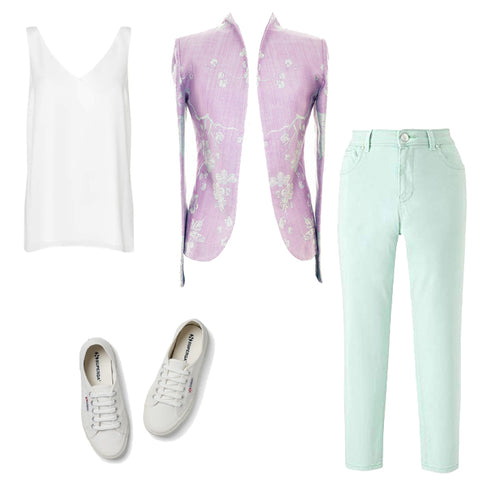 lilac jacket, mint coloured jeans, colourful jeans outfit, outfit ideas, summer outfit