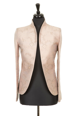 womens fitted jacket embroidered silk pale taupe mother of the bride outfit