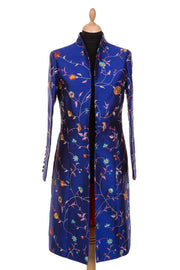 bright cobalt blue embroidered silk wedding coat, smart mother of the bride outfit, embroidered silk coat, outfit ideas for horse races, ladies day