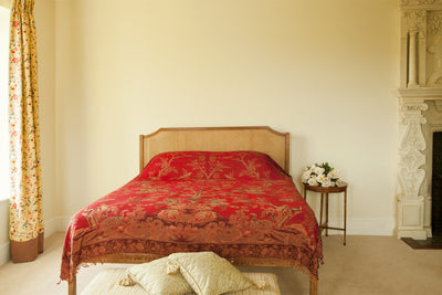 rich ruby red cashmere bed throw, floral pattern bedspread, countryside decor, home design
