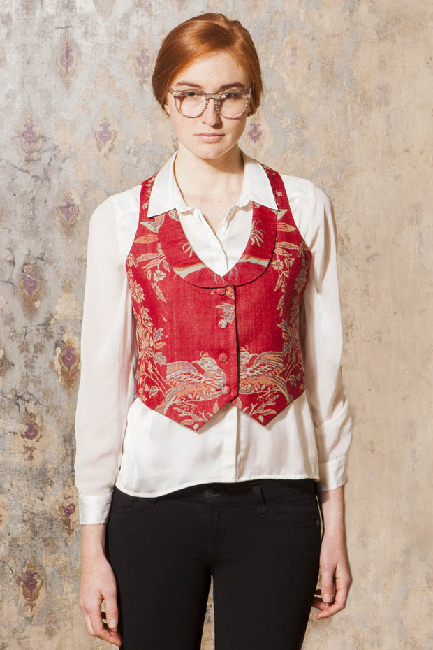 Scoop Neck Waistcoat in Imperial Red