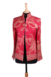 Short Nehru Jacket in Cardinal Pink