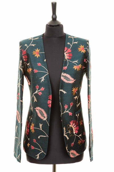 dark green embroidered silk fitted smart blazer for women, luxury office wear, alternative mother of the bride outfit