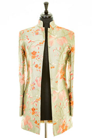 Long Nehru Jacket in Pearl Sage