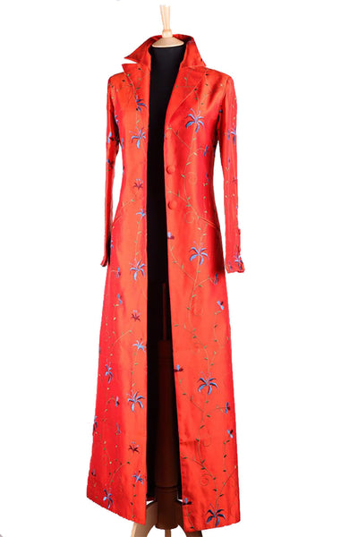 bright orange floral embroidered silk full length coat, non-traditional mother of the bride outfit, orange silk opera coat, silk maxi coat