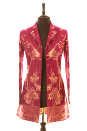 Long European Jacket in Deep Raspberry